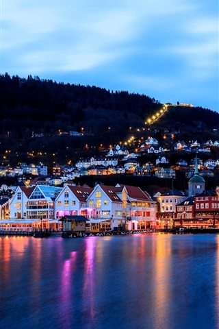 iPhone Wallpaper Bergen, Norway, city, evening, houses, lights, sea, dock, boat