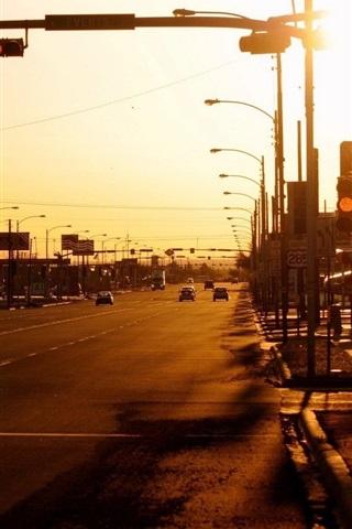 iPhone Wallpaper City, street, cars, lights, sunset