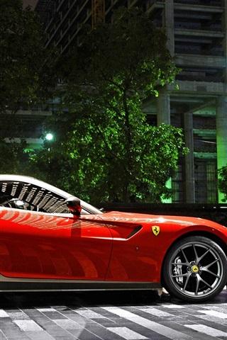 iPhone Wallpaper Ferrari 599 GTO red supercar, night, parking, city