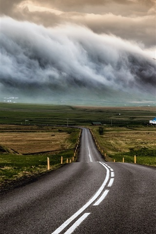 iPhone Wallpaper Iceland, road, houses, clouds