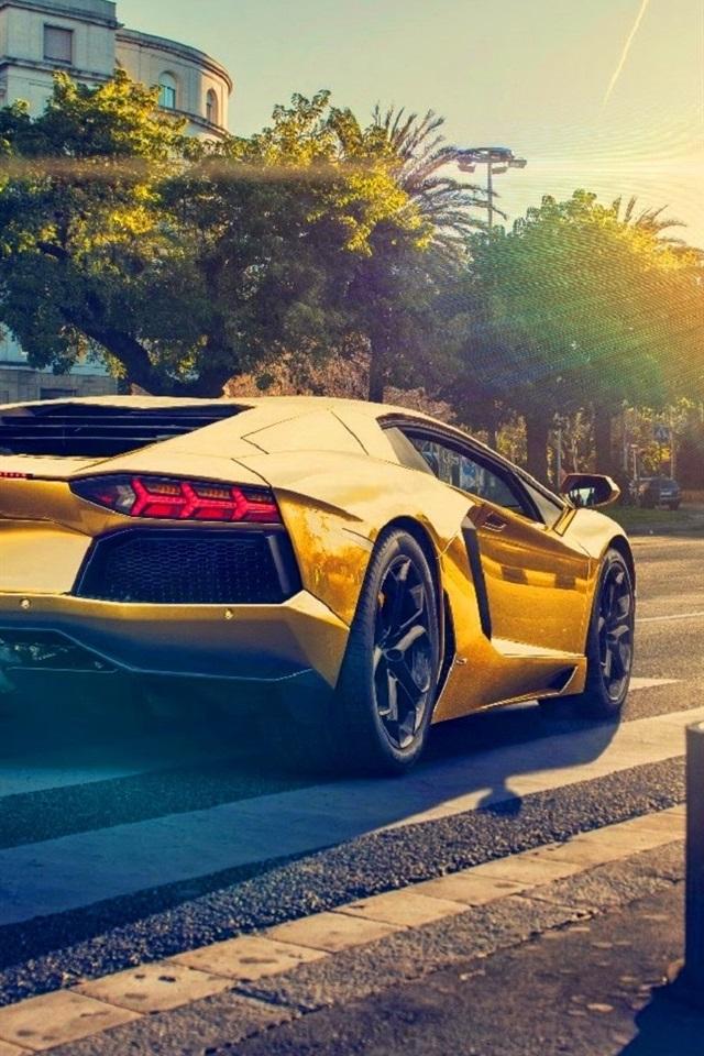 Wallpaper Lamborghini Aventador Lp700 4 Gold Color Car Sunset