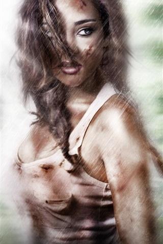 iPhone Wallpaper Lara Croft, Tomb Raider, look, rain