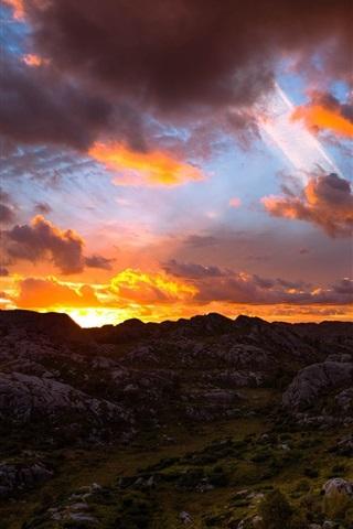 iPhone Wallpaper Mountain, rocks, sunrise, sky, clouds