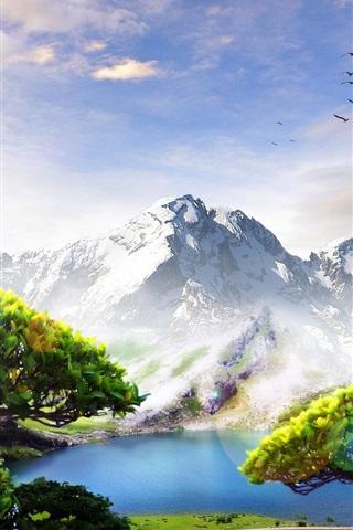 iPhone Обои Горы, деревья, птицы, облака, озеро, рай