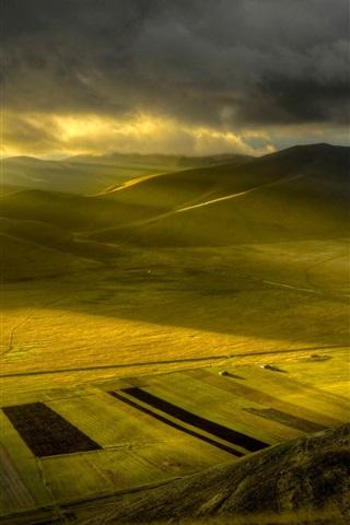 iPhone Wallpaper Nature morning, plain, fields, sun rays