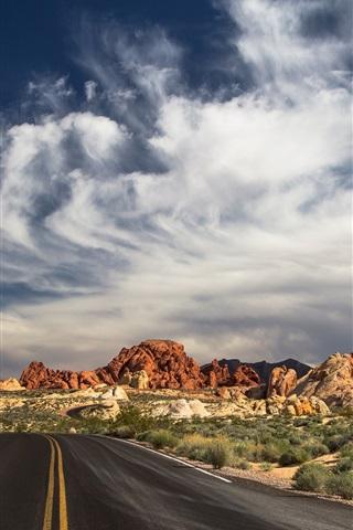 iPhone Wallpaper North Las Vegas, State Park, road, desert, clouds