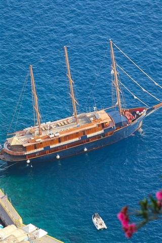 iPhone Wallpaper Oia, Santorini, Greece, Aegean Sea, yacht, boat, pier, sea