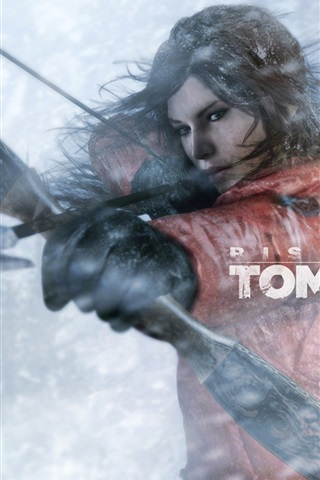 iPhone Papéis de Parede Rise of the Tomb Raider, Lara Croft usar arco