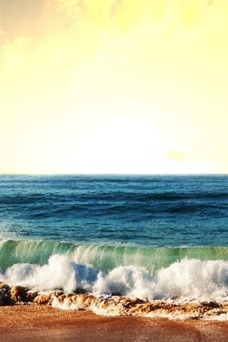 iPhone Wallpaper Sea, waves, coast, sky, sun