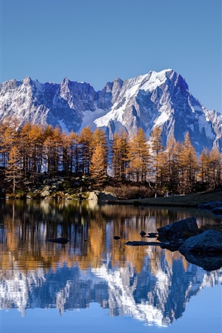 iPhone Wallpaper Sky, stone mountains, snow, lake, water reflection, trees, autumn