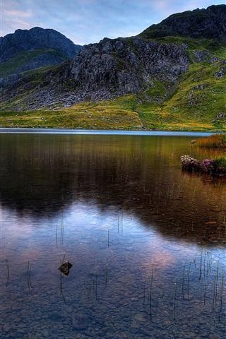 iPhone Papéis de Parede Snowdonia, lago, montanhas, grama, por do sol, cão