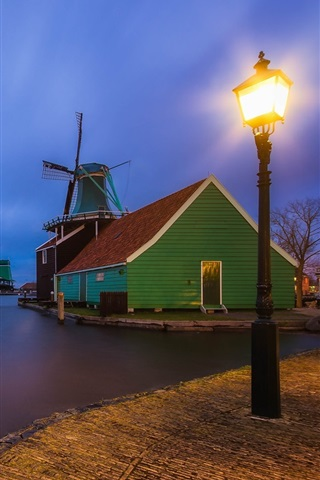 iPhone Wallpaper The Netherlands, village, houses, windmill, river, lights, night