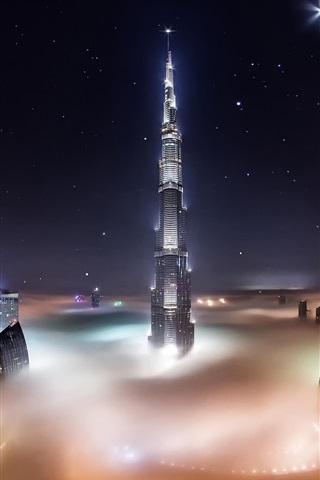 iPhone Wallpaper UAE, Dubai, Burj Khalifa, skyscrapers, night, fog, lights