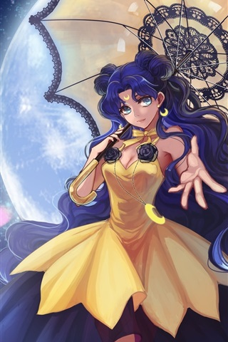 iPhone Wallpaper Anime girl, umbrella, night, moon