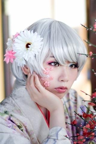 iPhone Wallpaper Asian girl, white hair