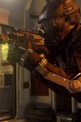 iPhone Papéis de Parede Call of Duty: Avançado guerra, soldado com armas