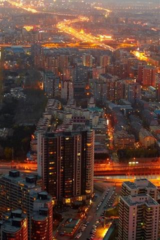 iPhone Wallpaper China, Beijing, buildings, lights, midnight