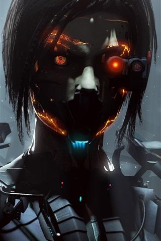 iPhone Wallpaper Cyborg, robot, girl, fantasy, creative pictures
