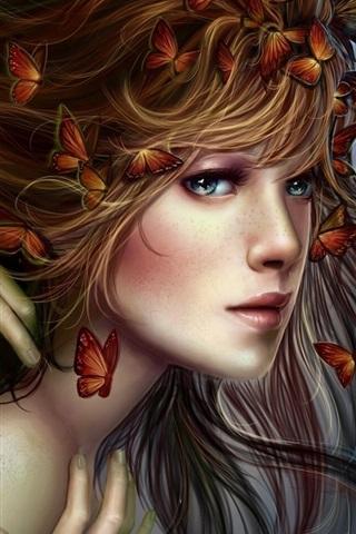 iPhone Wallpaper Fantasy blonde girl, hands, butterflies, hair