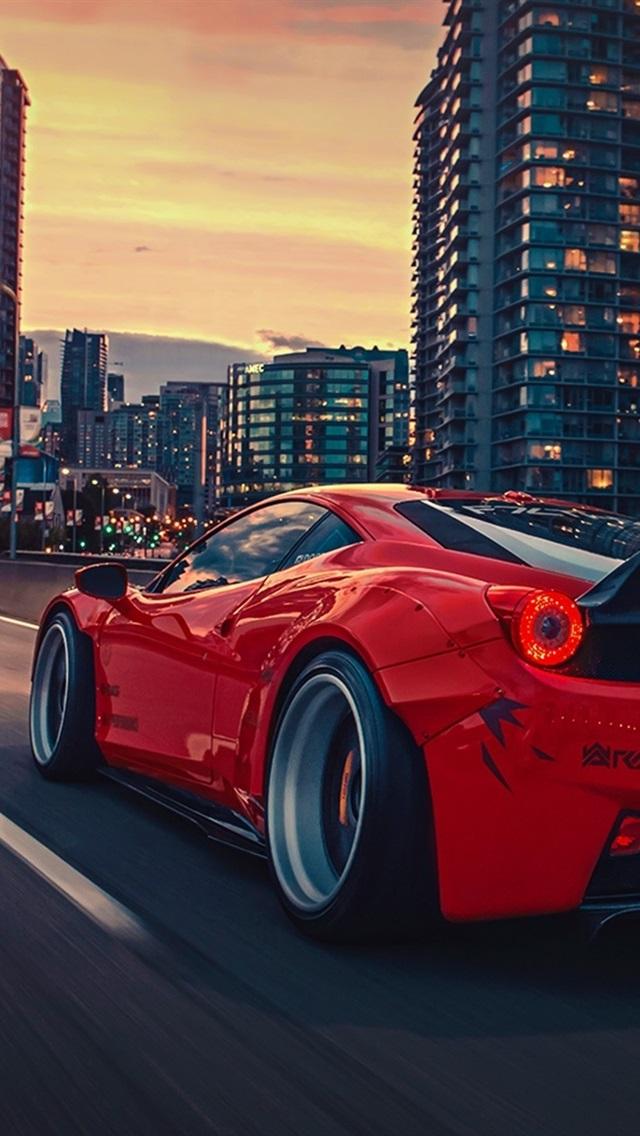 Ferrari 458 Italia Red Supercar Rear View City Night 640x1136