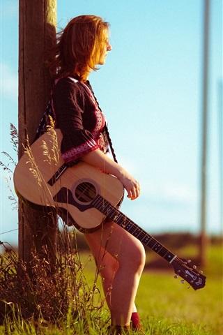 iPhone Wallpaper Girl, road, guitar