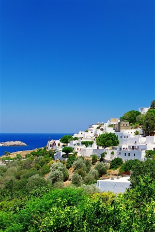 iPhone Wallpaper Greece, fortress, coast, houses, trees, blue sky