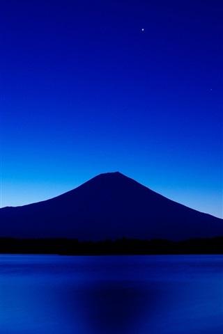 iPhone Wallpaper Japan, mount Fuji, blue sky, lake, night