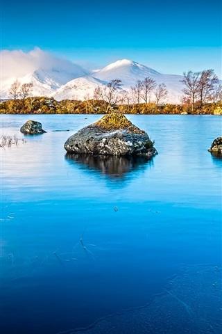iPhone Papéis de Parede Lake, gelo, rochas, montanhas, neve