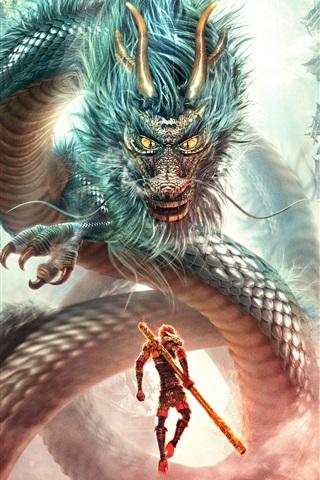 iPhone Hintergrundbilder Monkey King: Held ist zurück, Kampf Drachen
