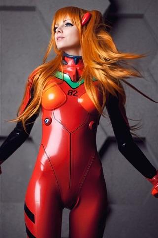 iPhone Wallpaper Neon Genesis Evangelion, Asuka Langley, cosplay girl