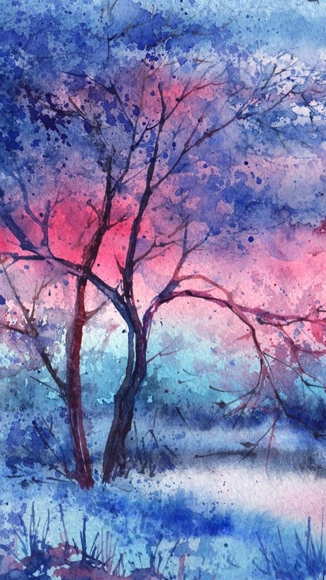 Gemalt Baum Fluss Bogen Nacht 640x1136 Iphone 5 5s 5c Se
