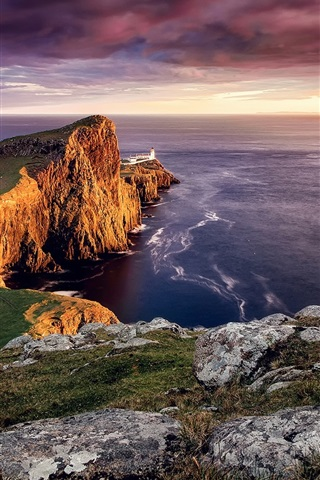iPhone Wallpaper Scotland, Neist point, Skye island, lighthouse, sunset, sea