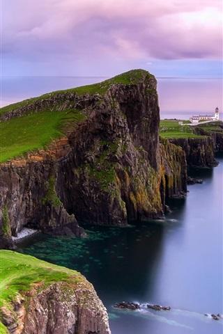 iPhone Wallpaper Scotland, Neist point, lighthouse, dawn, coast