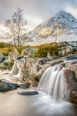 Scotland Scottish Highlands Mountain Stream Rocks