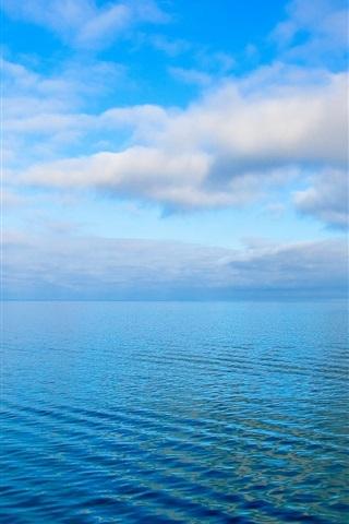 iPhone Wallpaper Sky, clouds, sea, ripples, blue