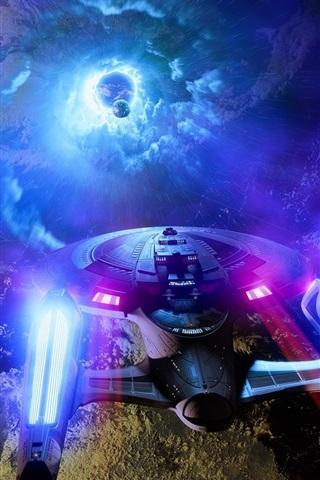 iPhone Wallpaper Star Trek, ship, planet, creative design