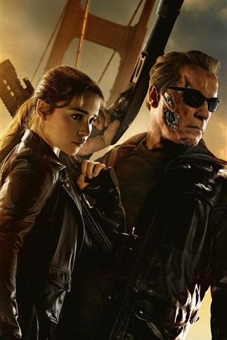 iPhone Wallpaper Terminator: Genisys, Emilia Clarke, Arnold Schwarzenegger