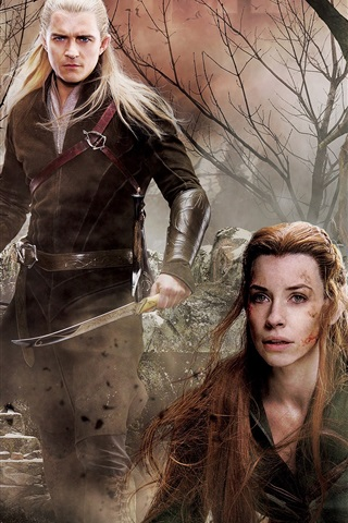 iPhone Wallpaper The Hobbit: The Battle of the Five Armies, Evangeline Lilly, Orlando Bloom