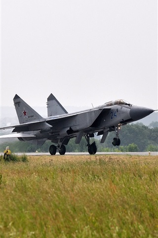 iPhone Wallpaper The MiG-31, fighter, taking off