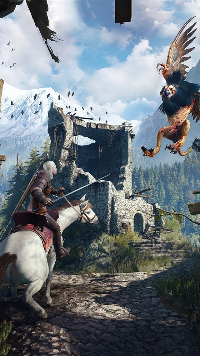 The Witcher 3 Wild Hunt Monstruo Batalla 640x1136 Iphone 5