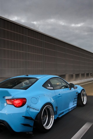 Toyota Gt86 Blue Car Rear View Highway 640x1136 Iphone 5 5s 5c Se