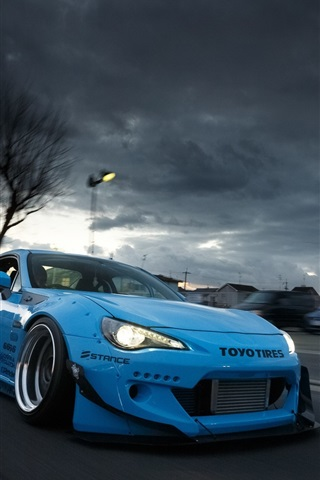iPhone Wallpaper Toyota GT86 blue supercar front view
