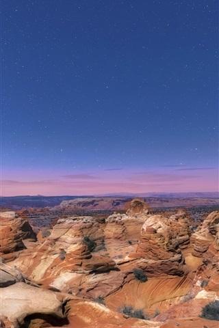 iPhone Wallpaper USA, Arizona, National Park, rocks, night, stars, blue sky