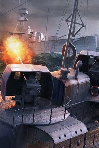 iPhone Papéis de Parede Mundo de navios de guerra, jogo de PC, mar, navios