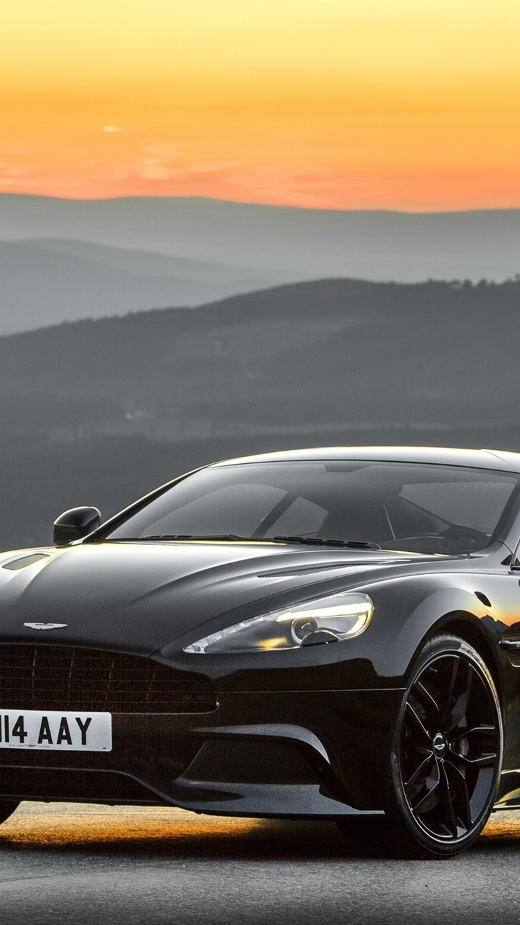 2014 Aston Martin Black Car Sunset 750x1334 Iphone 8 7 6 6s Wallpaper Background Picture Image