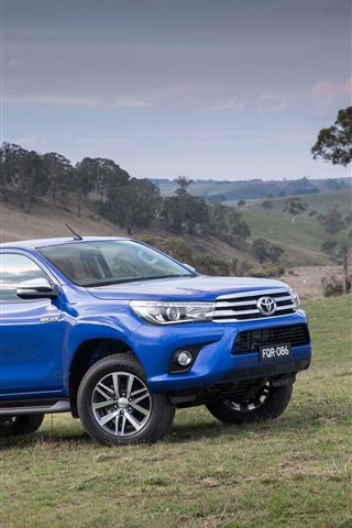 iPhone Wallpaper 2015 Toyota Hilux SR5 blue jeep