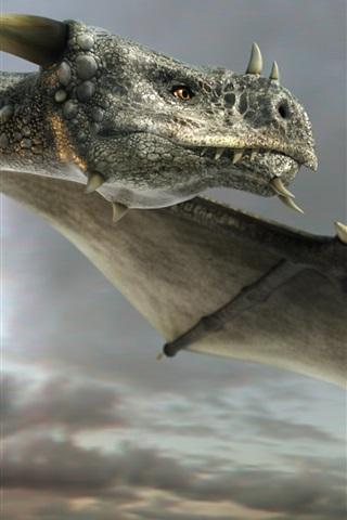 iPhone Wallpaper Art painting, dragon, flying, eyes, wings
