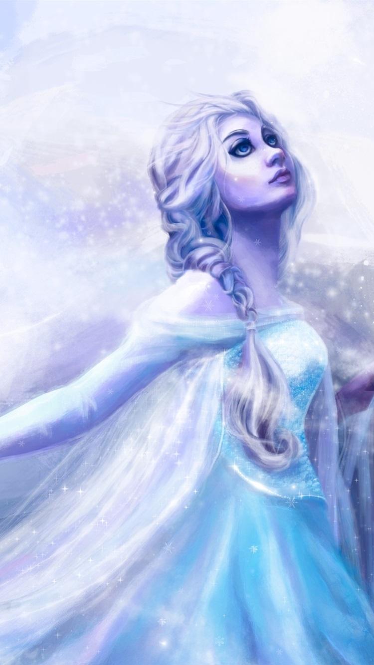 アート絵画 女の子 青いドレス 寒さ 雪 吹雪 750x1334 Iphone 8 7