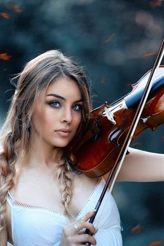 iPhone Wallpaper Autumn symphony, girl, violin