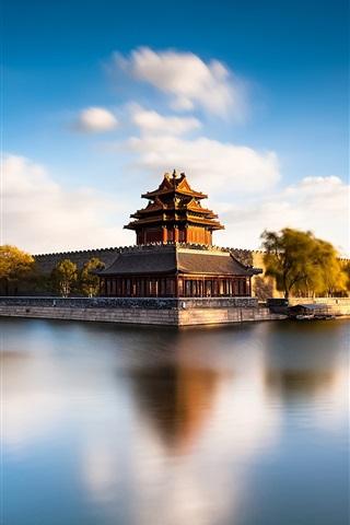 iPhone Wallpaper Beijing Forbidden City Moat, China, river, water reflection